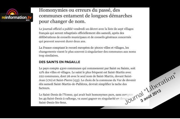 Le torchon Libération sur les noms de village commençant par Saint ou Sainte...